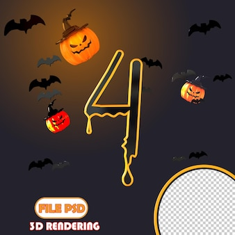 Número 3d halloween 4