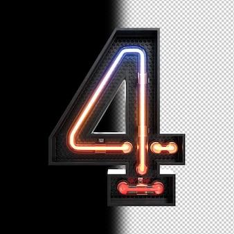 Número 4 hecho de luz de neón