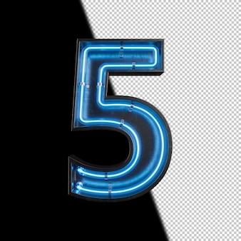 Número 5 hecho de luz de neón
