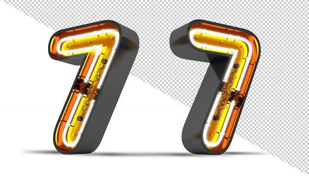 Número 7 luz de neón