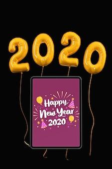 Número de año nuevo en maqueta de globos