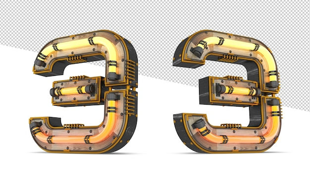 Numero in legno 3d con effetto luce al neon