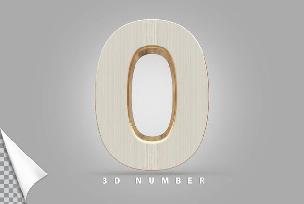 Nummer 0 3d-rendering goud met houtstijl