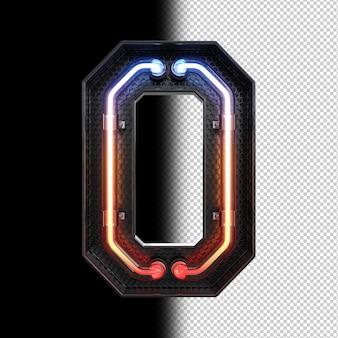 Nummer 0 gemaakt van neonlicht