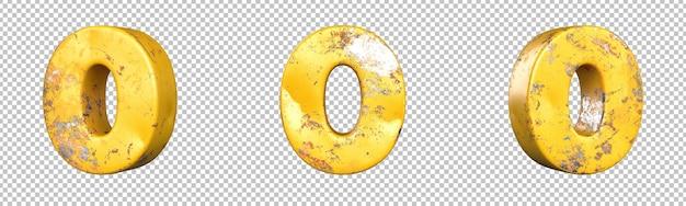 Nummer 0 (nul) uit een set metalen gele grunge-nummers. geïsoleerd. 3d-rendering