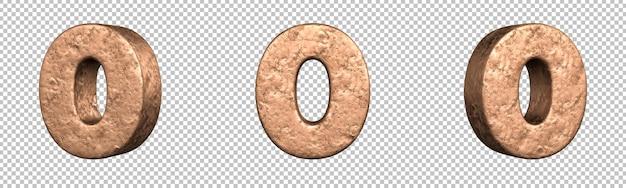 Nummer 0 (nul) uit koperen nummers collectie set. geïsoleerd. 3d-rendering