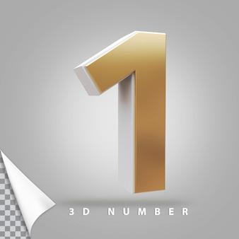 Nummer 1 3d-rendering gouden