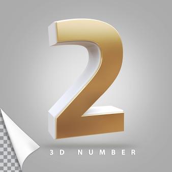 Nummer 2 3d-rendering gouden Premium Psd
