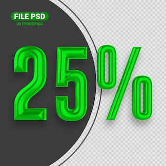 Nummer 25 groene 3d-renderingbanner