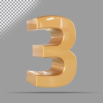 Nummer 3 3d gouden