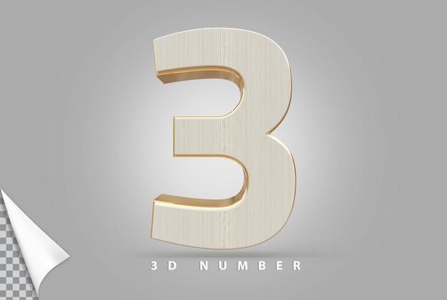Nummer 3 3d-rendering goud met houtstijl