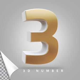 Nummer 3 3d-rendering gouden