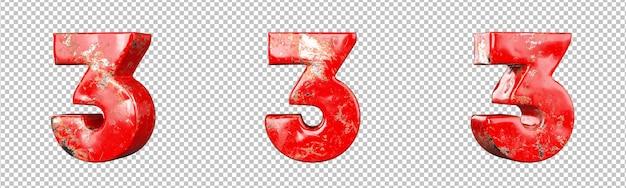 Nummer 3 (drie) van verzamelingset met rode bekraste metalen nummers. geïsoleerd. 3d-rendering