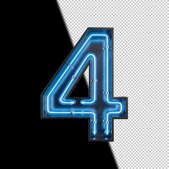 Nummer 4 gemaakt van neonlicht