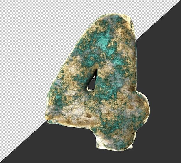 Nummer 4 (vier) uit oude verroeste messing metalen nummers collectie set. geïsoleerd. 3d-rendering