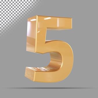 Nummer 5 3d gouden