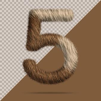 Nummer 5 met realistische 3d-bont