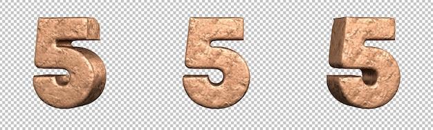 Nummer 5 (vijf) uit copper numbers collectie set. geïsoleerd. 3d-rendering