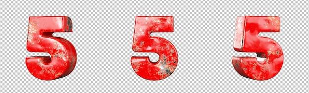 Nummer 5 (vijf) van verzamelingset met rode bekraste metalen nummers. geïsoleerd. 3d-rendering