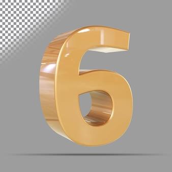 Nummer 6 3d gouden