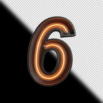 Nummer 6 gemaakt van neonlicht