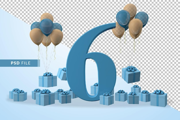 Nummer 6 verjaardag viering blauwe geschenkdoos gele en blauwe ballonnen