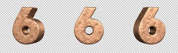Nummer 6 (zes) uit copper numbers collectieset. geïsoleerd. 3d-rendering
