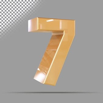 Nummer 7 3d gouden