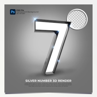 Nummer 7 3d render zilveren stijl met elementen