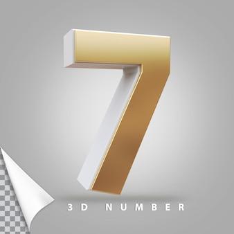 Nummer 7 3d-rendering gouden