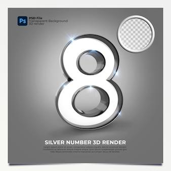 Nummer 8 3d render zilveren stijl met elementen