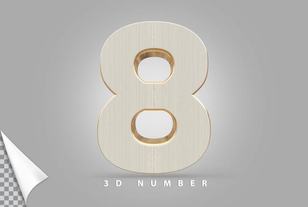 Nummer 8 3d-rendering goud met houtstijl