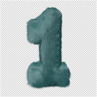 Nummer gemaakt van bont 3d-rendering