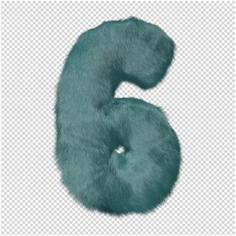 Nummer gemaakt van bont 3d-rendering Premium Psd