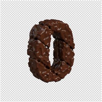 Nummer gemaakt van chocolade. 3d-nummer 0