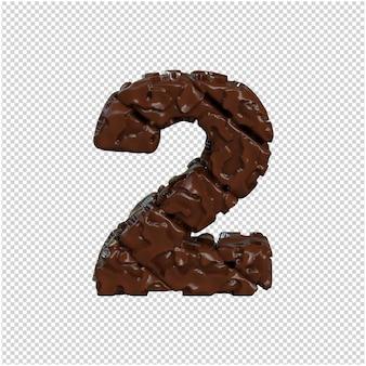 Nummer gemaakt van chocolade. 3d-nummer 2