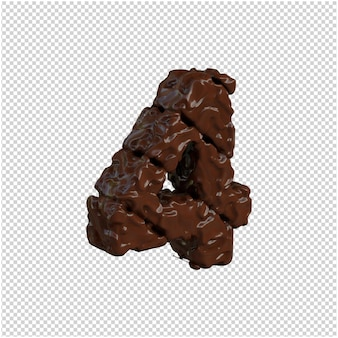 Nummer gemaakt van chocolade. 3d-nummer 4
