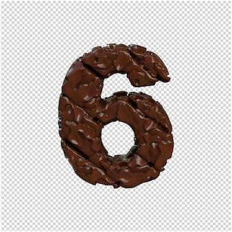 Nummer gemaakt van chocolade. 3d-nummer 6