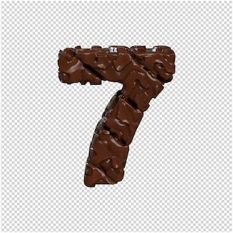 Nummer gemaakt van chocolade. 3d-nummer 7