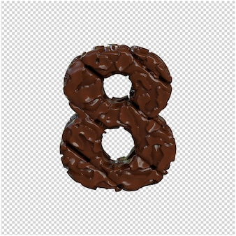 Nummer gemaakt van chocolade. 3d-nummer 8