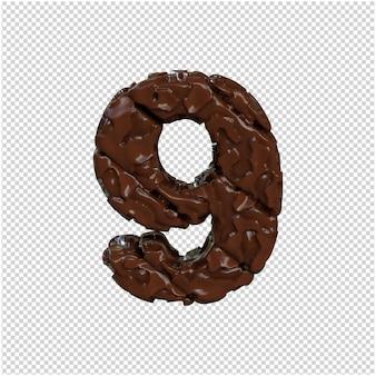Nummer gemaakt van chocolade. 3d-nummer 9
