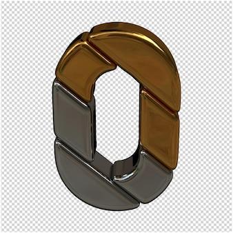 Nummer gemaakt van goud en zilver 3d-rendering