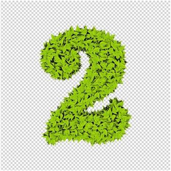 Nummer gemaakt van groene bladeren