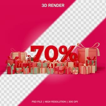 Nummer korting concept met rond geschenken en transparante achtergrond in 3d-ontwerp