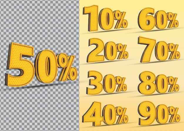 Nummer percentage set 10 tot 90 stijl kleur geel
