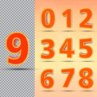 Nummer set 0 tot 9 stijl kleur oranje