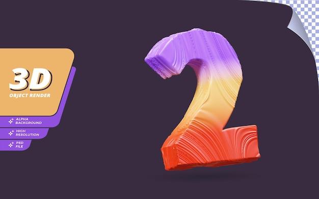 Nummer twee, nummer 2 in 3d render geïsoleerd met abstracte gradiënt textuur ontwerp illustratie