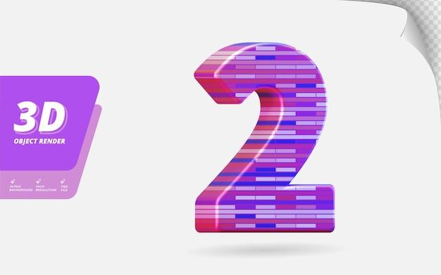 Nummer twee, nummer 2 in 3d render geïsoleerd met abstracte metalen baksteen textuur ontwerp illustratie