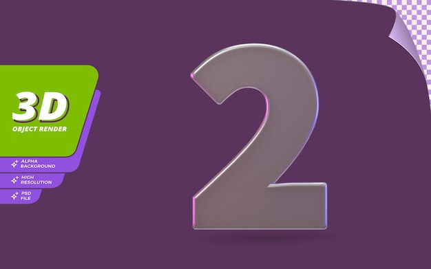 Nummer twee, nummer 2 in 3d render geïsoleerd met abstracte metalen glaskristal textuur ontwerp illustratie