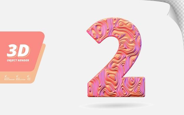 Nummer twee, nummer 2 in 3d render geïsoleerd met abstracte metalen textuur ontwerp illustratie
